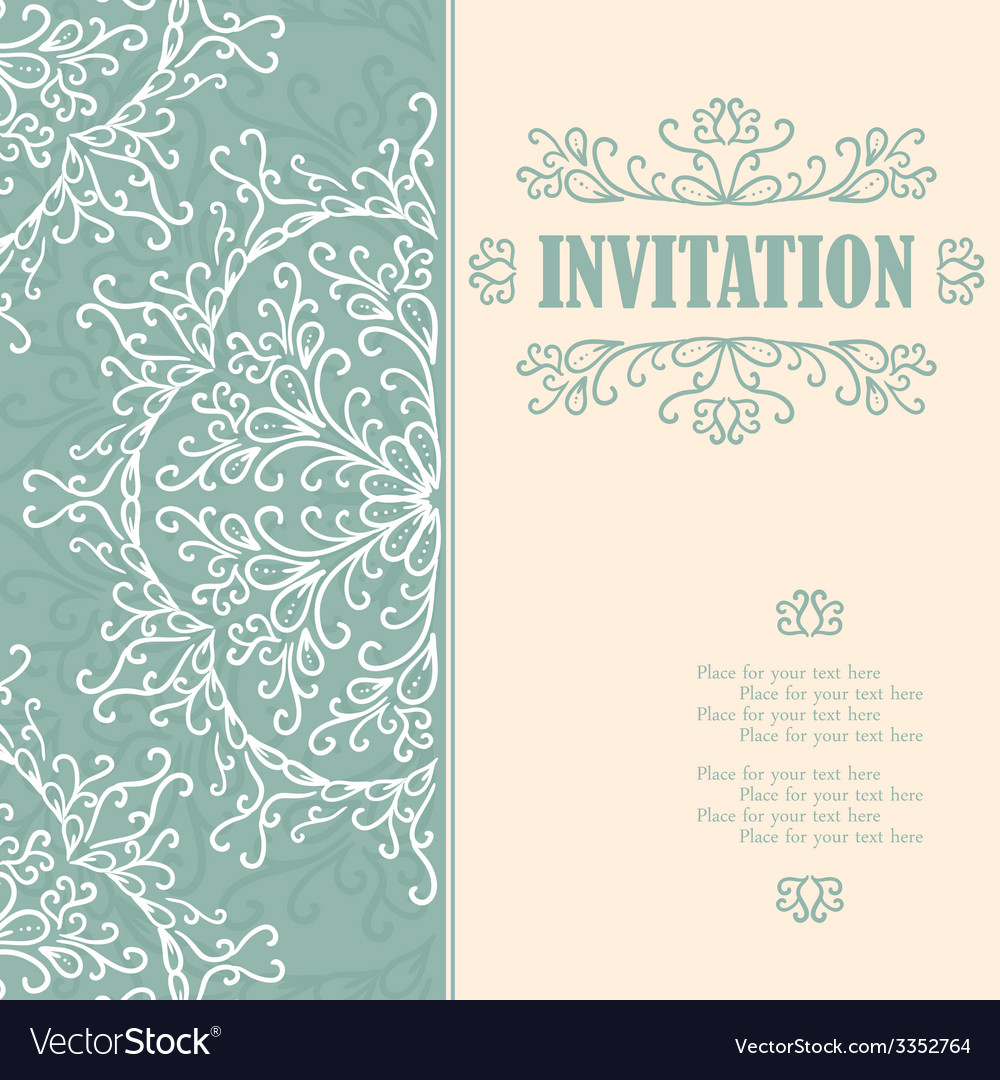 Vintage invitation card with lace ornament vector   Price: 1 Credit (USD $1)