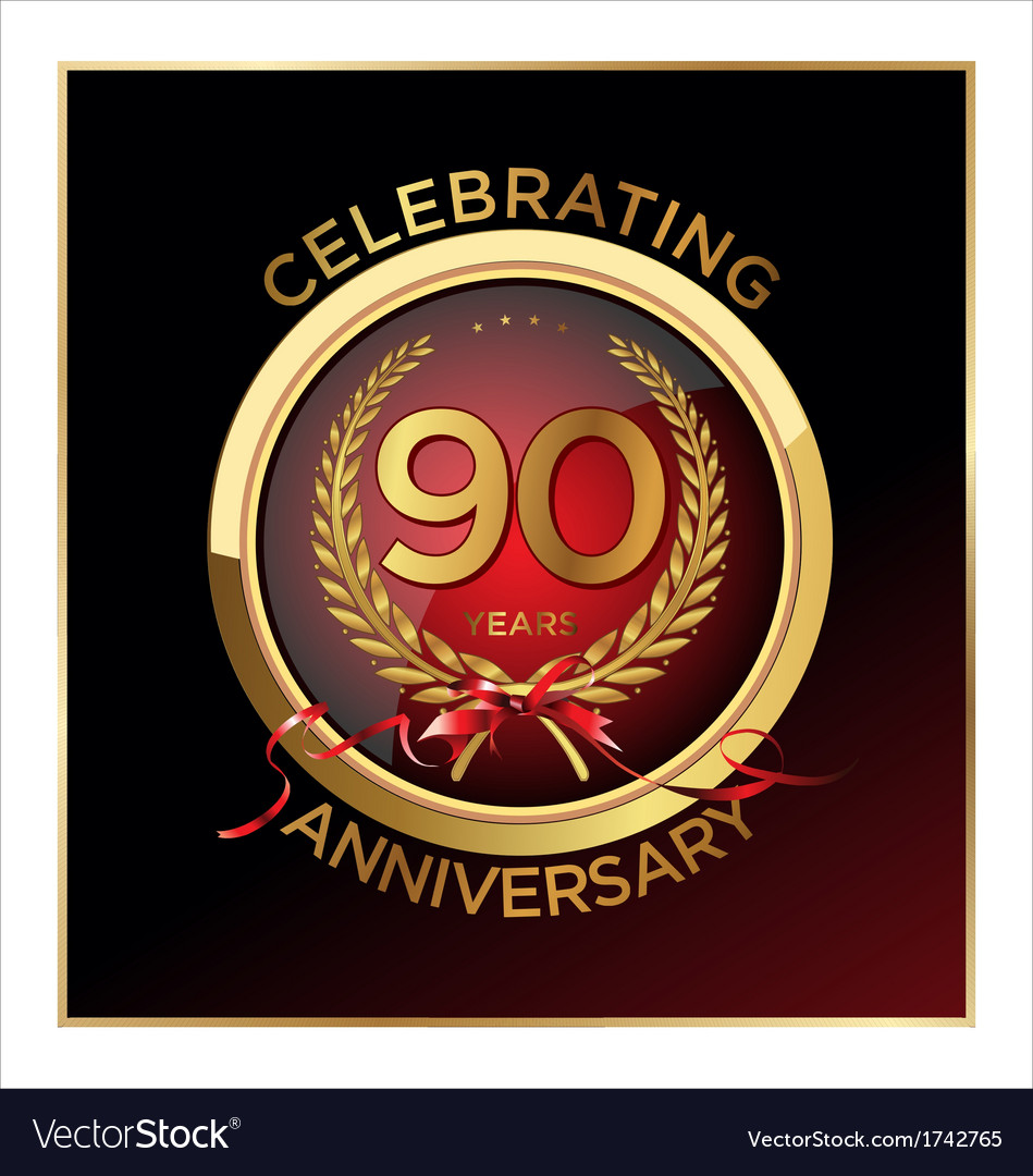 90 years anniversary label vector | Price: 1 Credit (USD $1)