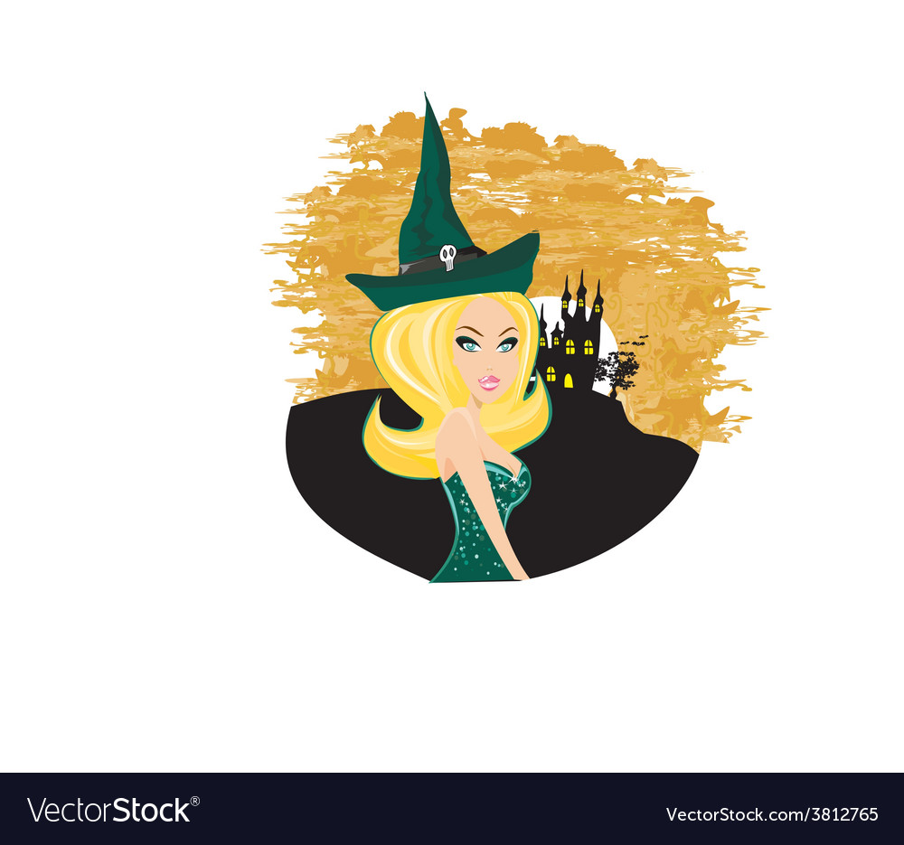 Beautiful halloween witch vector | Price: 1 Credit (USD $1)