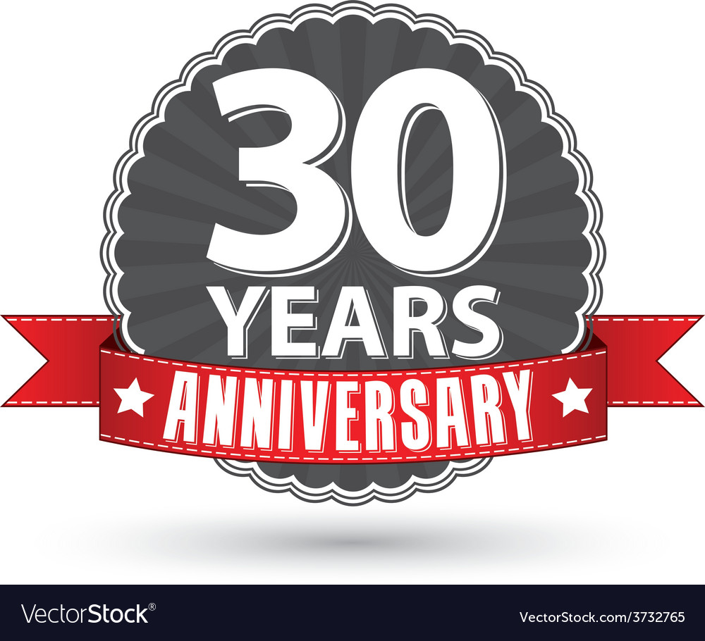 Celebrating 30 years anniversary retro label with vector | Price: 1 Credit (USD $1)