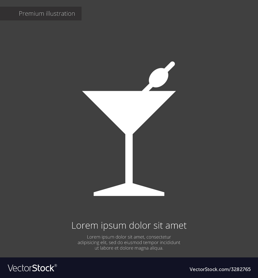 Cocktail premium icon white on dark background vector | Price: 1 Credit (USD $1)