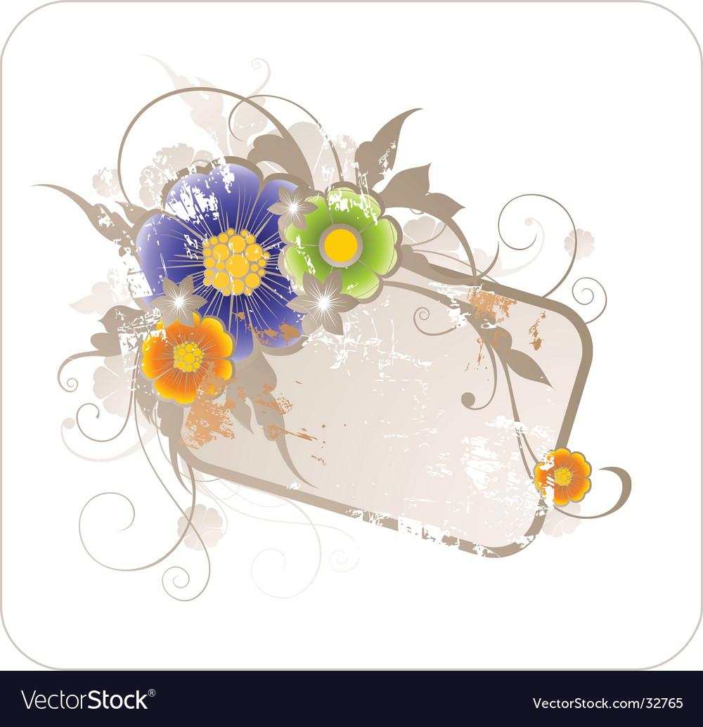 Grunge elegant floral frame vector | Price: 1 Credit (USD $1)
