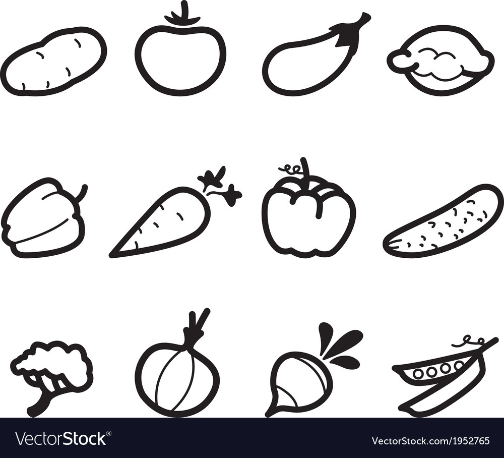 Icons vegetables vector | Price: 1 Credit (USD $1)