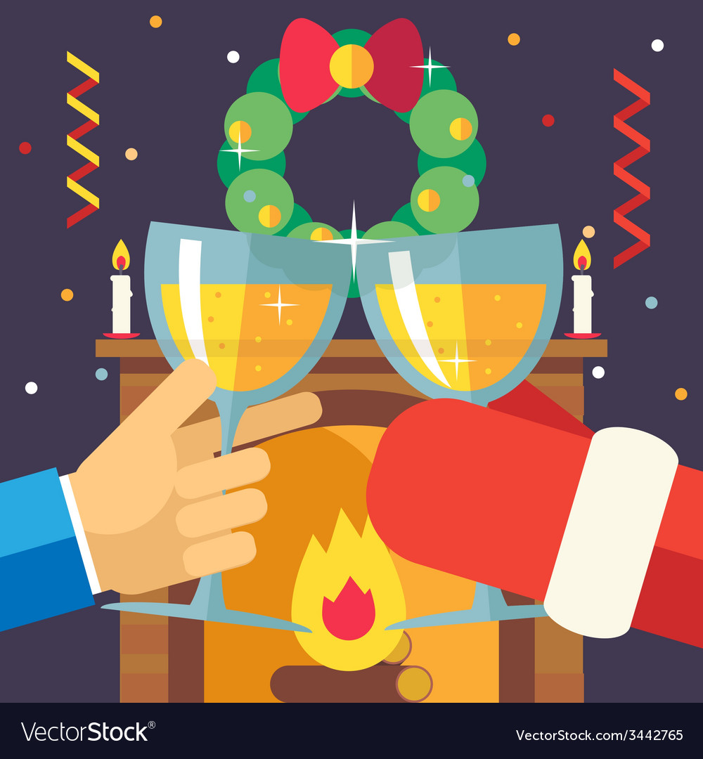New year christmas with santa claus celebration vector | Price: 1 Credit (USD $1)