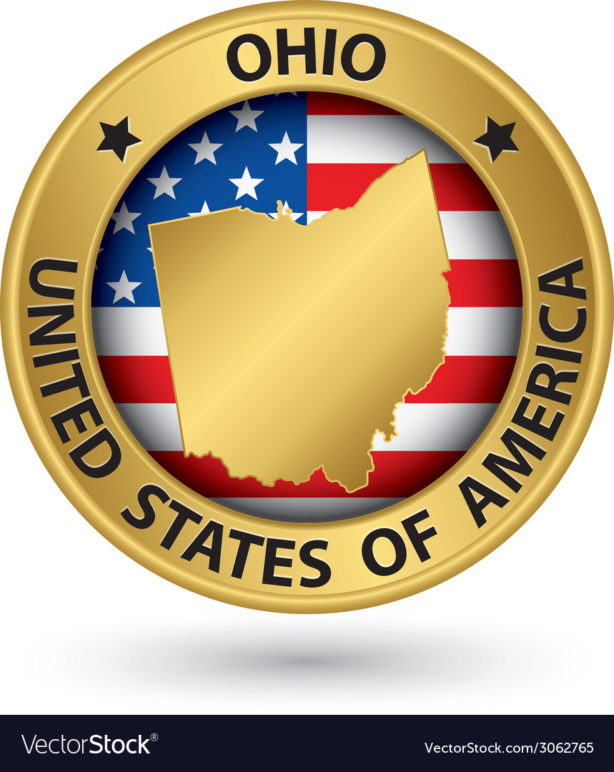 Ohio state gold label with state map vector   Price: 1 Credit (USD $1)