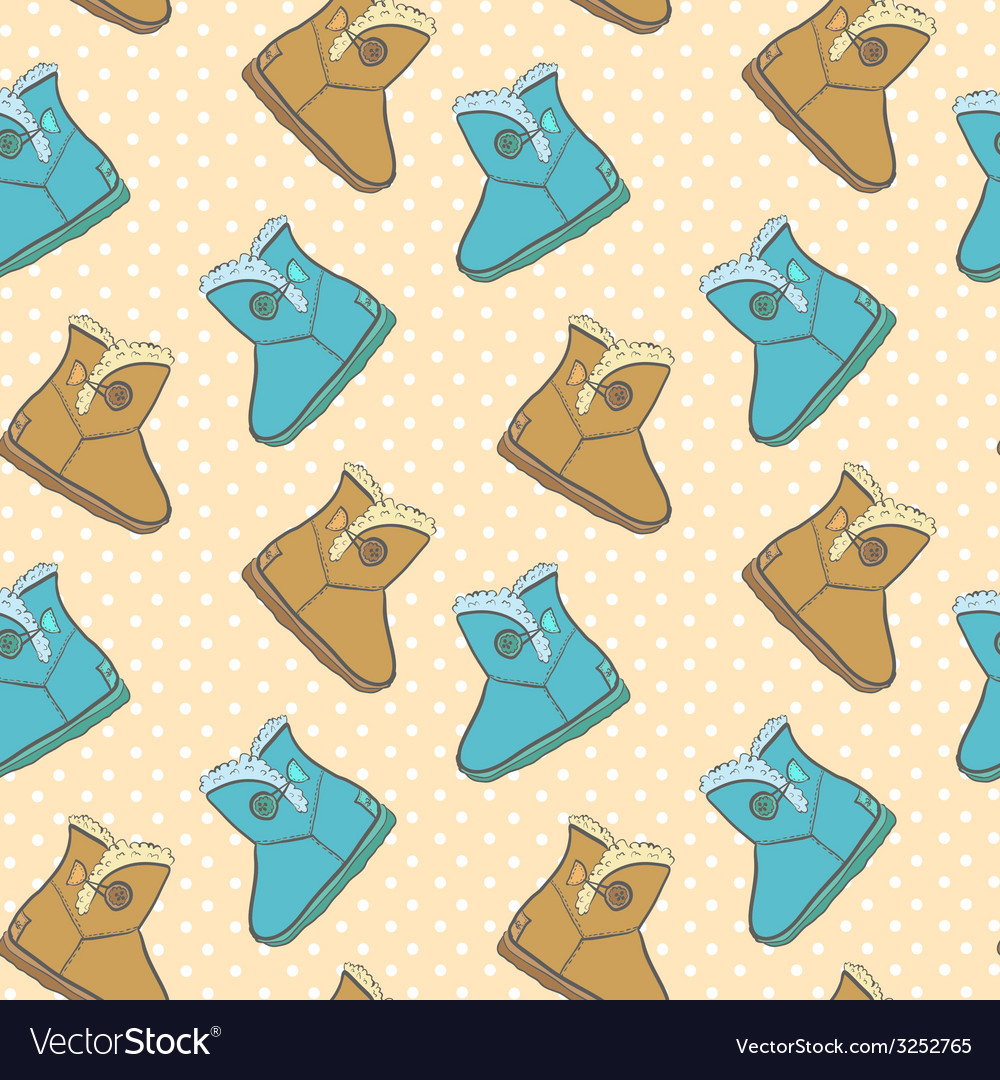 Seamless pattern with cute cartoon boots vector | Price: 1 Credit (USD $1)