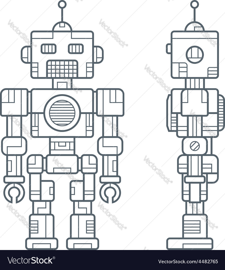 Simple line retro robot vector | Price: 1 Credit (USD $1)
