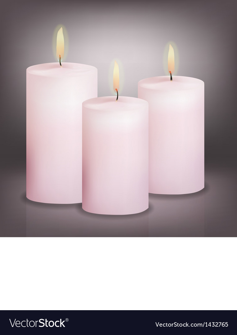 Three pink candles vector | Price: 1 Credit (USD $1)