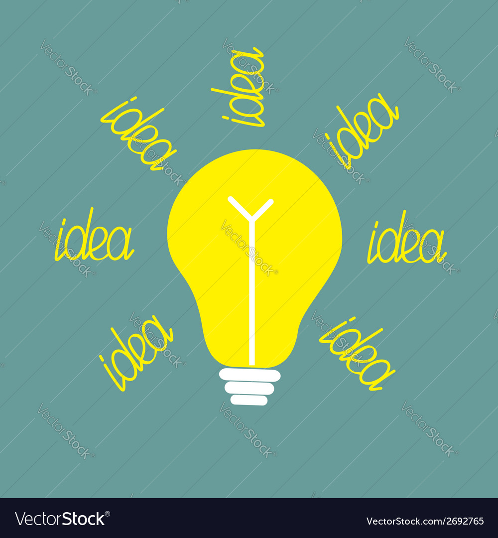Yellow bulb with ray of light idea concept vector | Price: 1 Credit (USD $1)