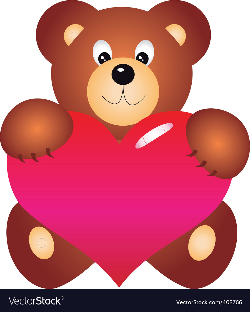 Bear with heart vector vector | Price: 1 Credit (USD $1)