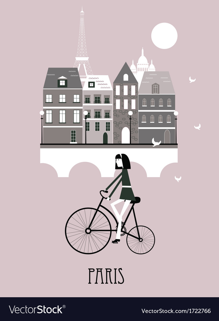 Girl on a bicycle in paris vector | Price: 1 Credit (USD $1)