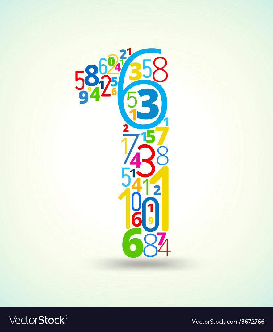 Number 1 colored font from numbers vector   Price: 1 Credit (USD $1)