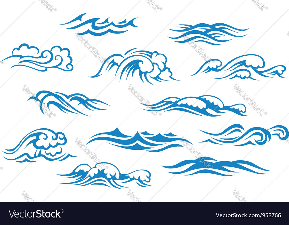 Ocean and sea waves set vector | Price: 1 Credit (USD $1)