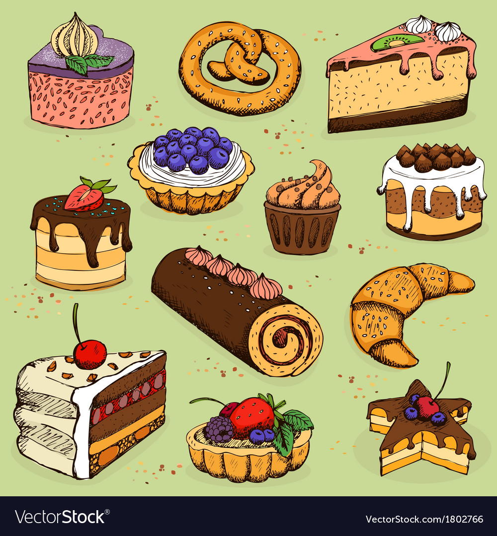 Pies and flour products for bakery pastry vector | Price: 1 Credit (USD $1)
