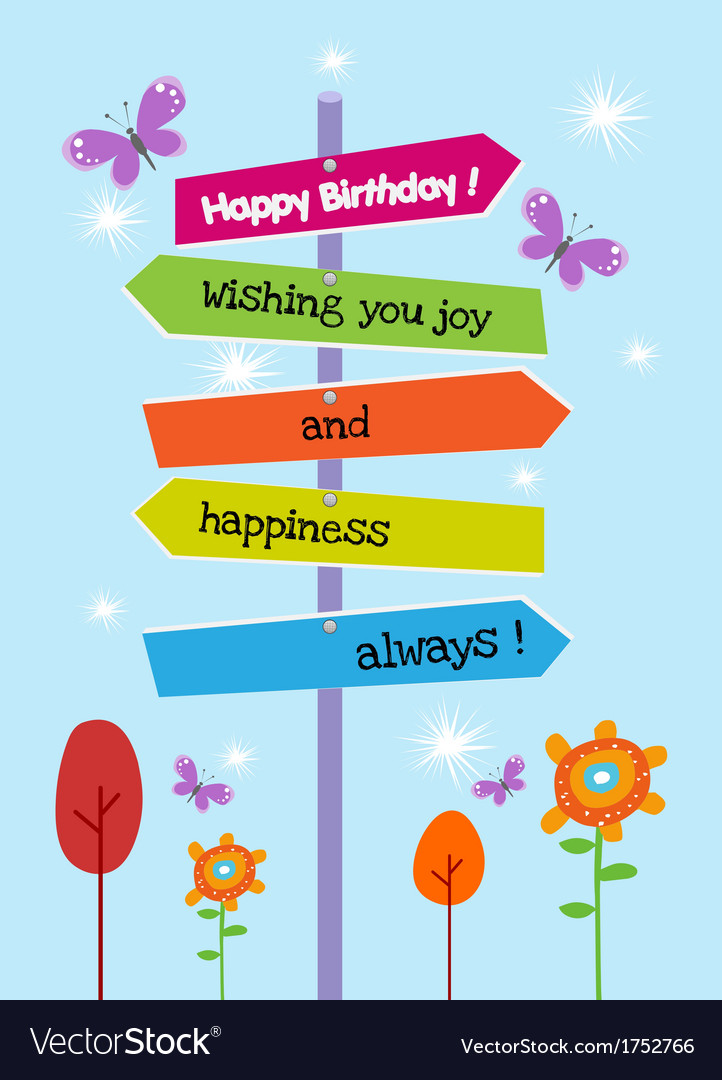 The right happy birthday direction vector | Price: 1 Credit (USD $1)