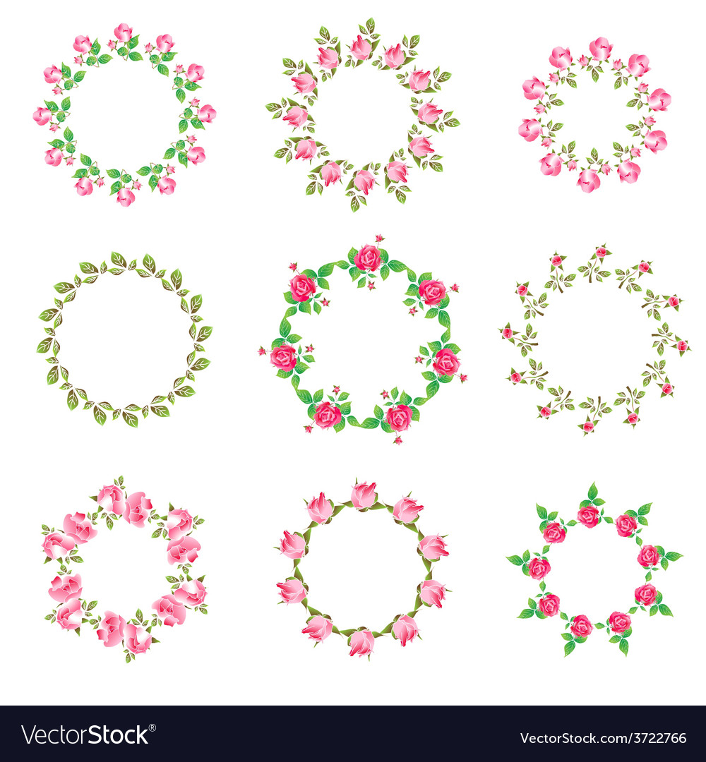 Set rose floral ornate round frames vector | Price: 1 Credit (USD $1)