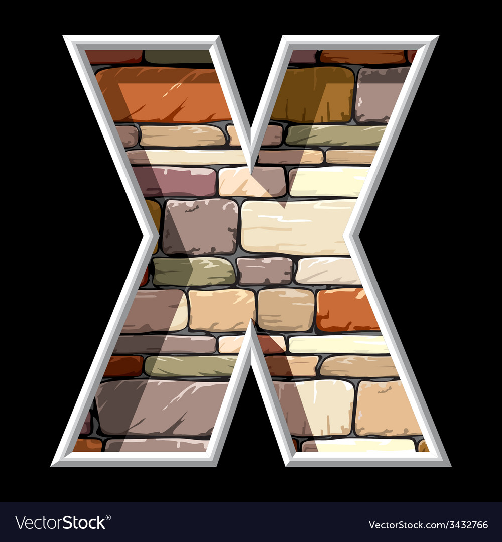 Stone letter x vector | Price: 1 Credit (USD $1)