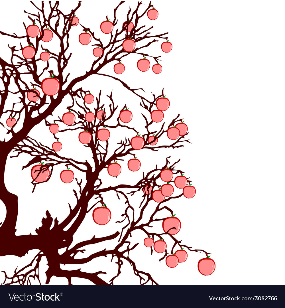Tree with red apples color vector | Price: 1 Credit (USD $1)