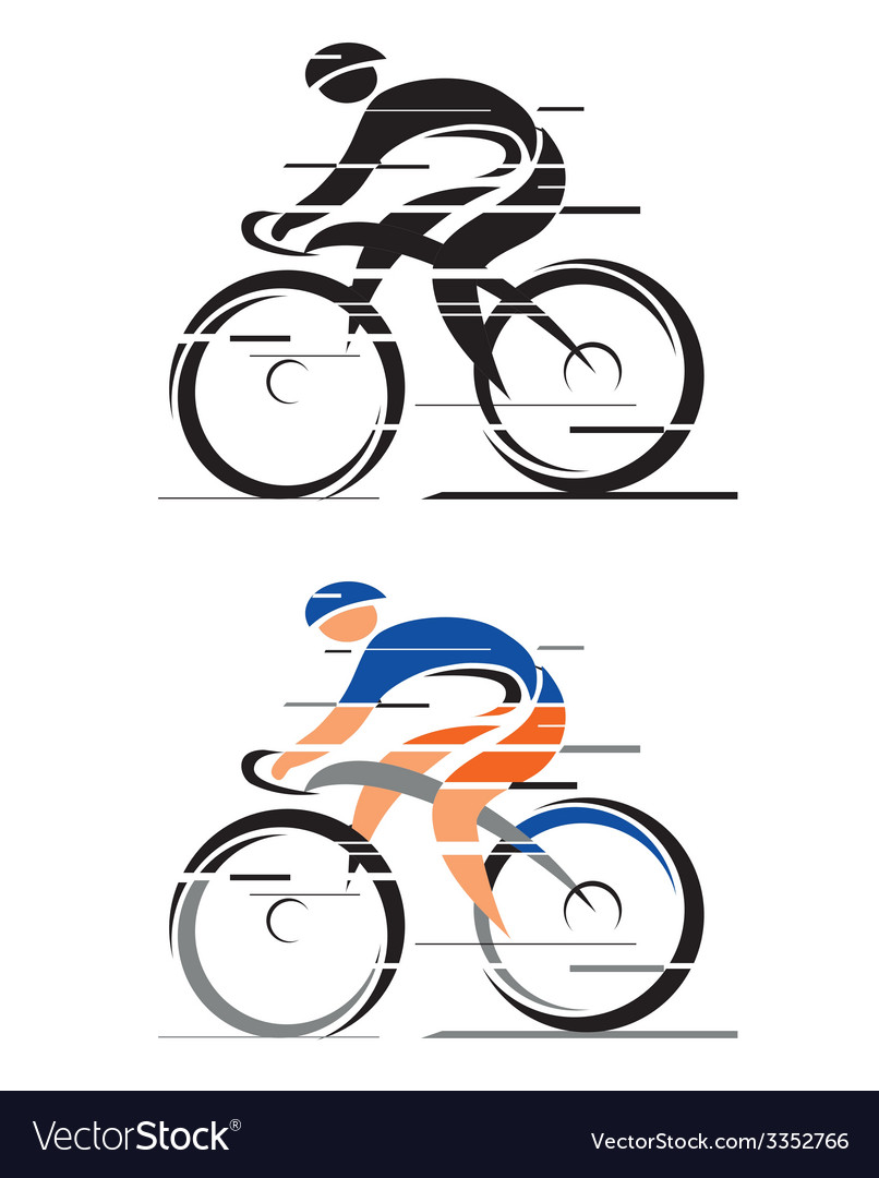 Two racing cyclists vector | Price: 1 Credit (USD $1)
