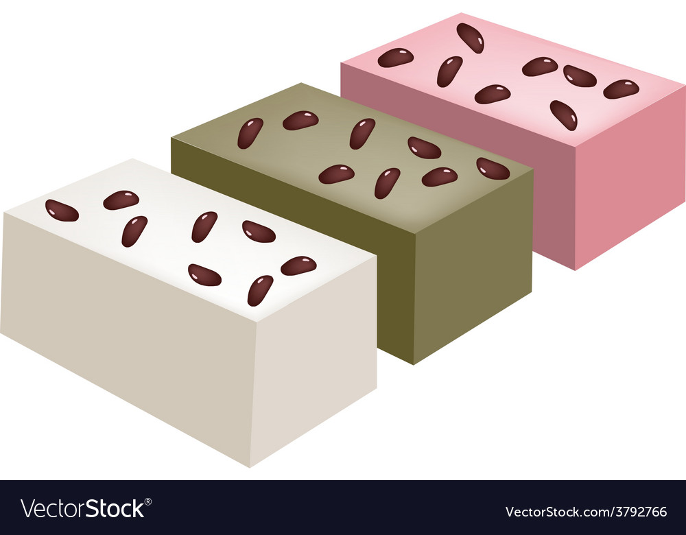Uiro mochi or traditional japanese steamed cake vector | Price: 1 Credit (USD $1)