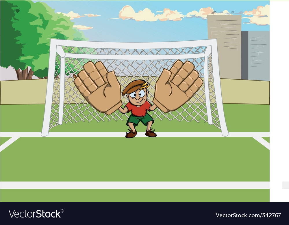 Cartoon goalkeeper at the gate vector | Price: 3 Credit (USD $3)