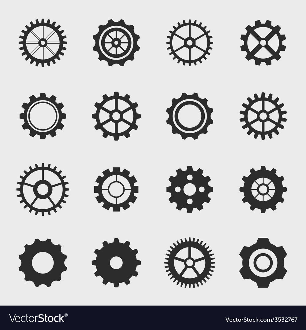 Different types of gears vector | Price: 1 Credit (USD $1)