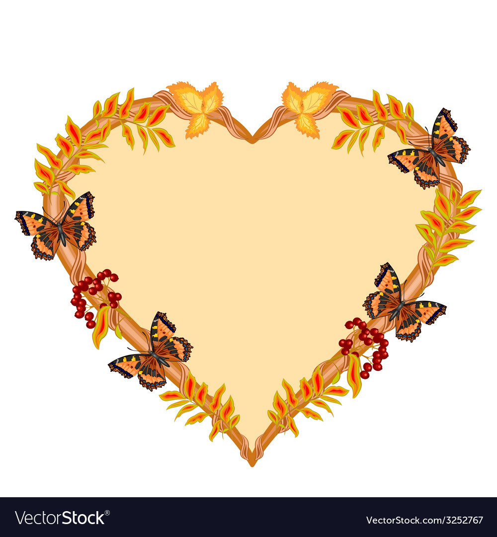 Frame in the shape of a heart with butterflies vector   Price: 1 Credit (USD $1)