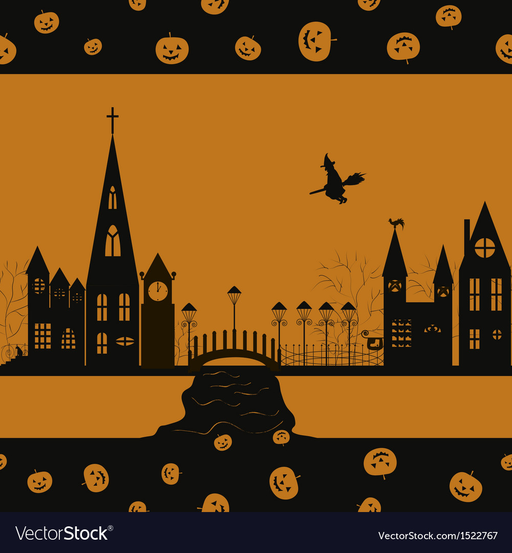 Halloween card seamless pattern vector | Price: 1 Credit (USD $1)