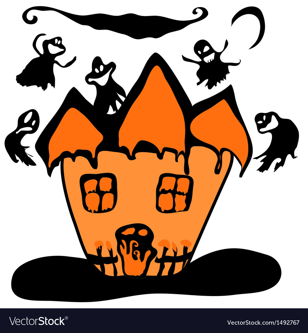 Haunted halloween witch house vector | Price: 1 Credit (USD $1)