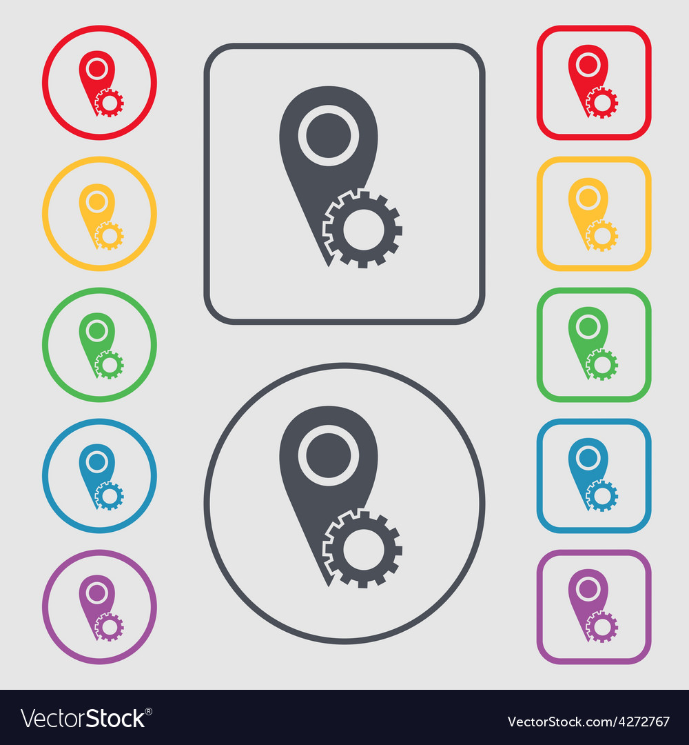 Map pointer setting icon sign symbol on the round vector | Price: 1 Credit (USD $1)