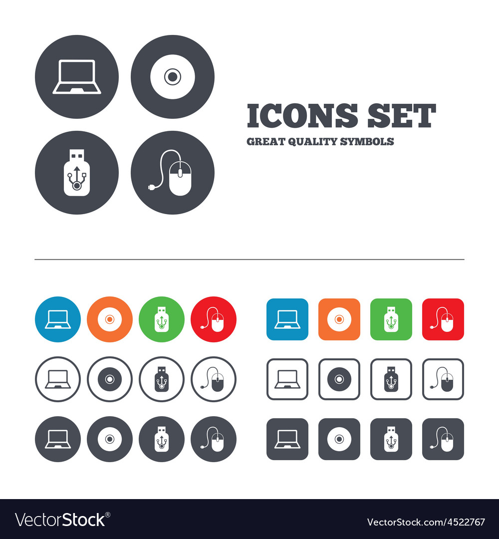 Notebook pc and usb flash drive stick icons vector | Price: 1 Credit (USD $1)