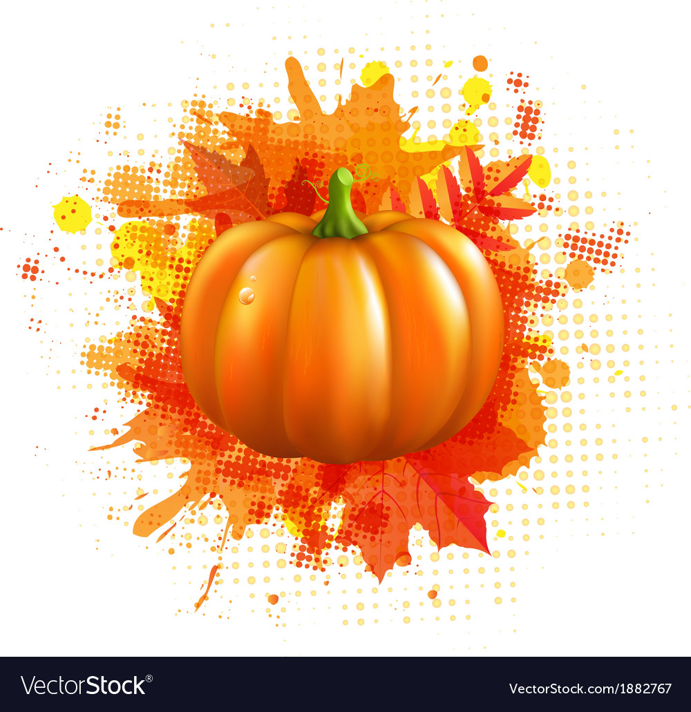 Orange with blobs autumn leafs and pumpkin vector | Price: 1 Credit (USD $1)