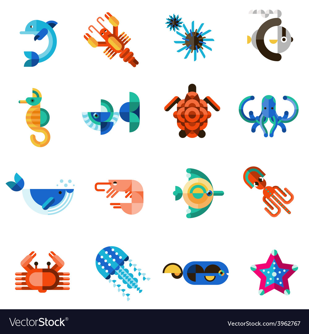 Sea creatures set vector | Price: 1 Credit (USD $1)