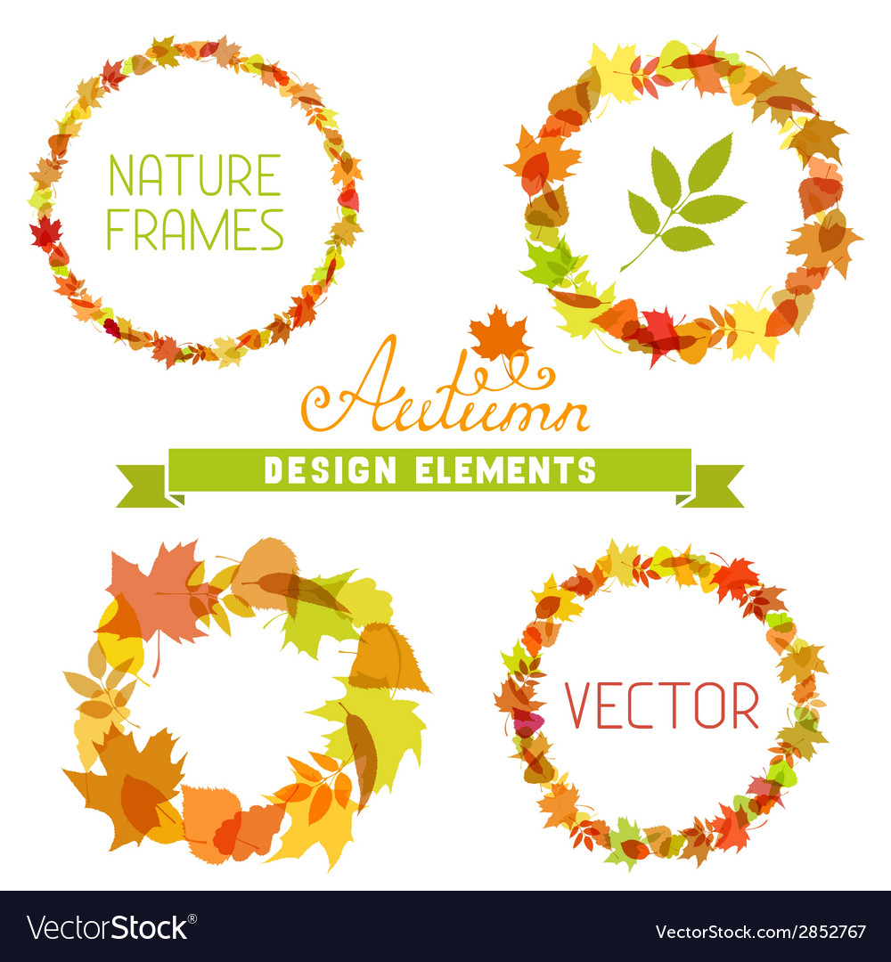 Set of autumn frames on white background vector | Price: 1 Credit (USD $1)
