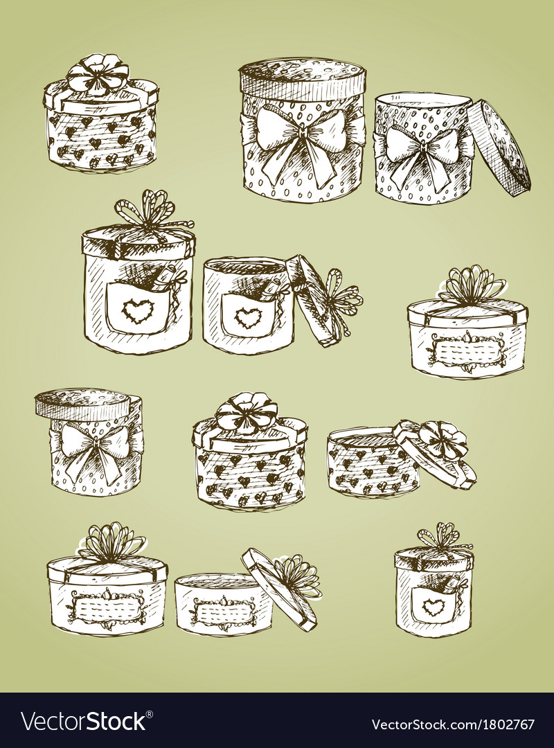 Set of gift present boxes vector | Price: 1 Credit (USD $1)