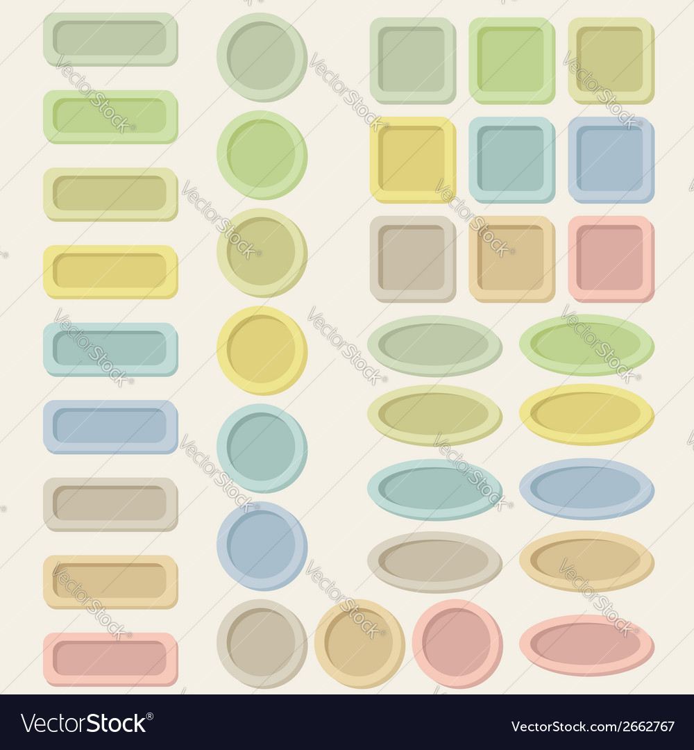 Set of pastel buttons for web design vector