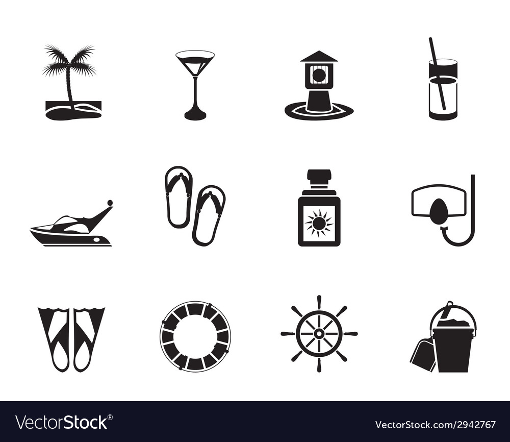 Silhouette sea and holiday icons vector | Price: 1 Credit (USD $1)