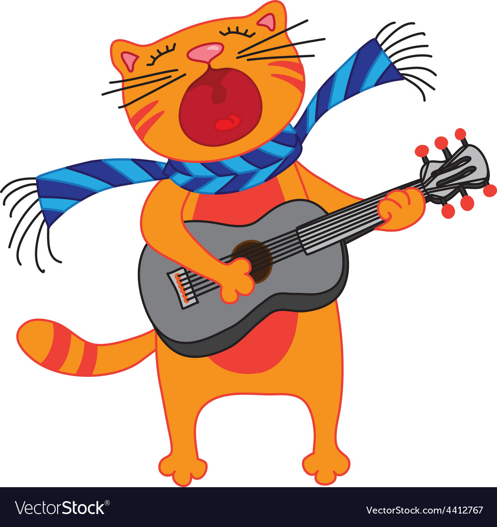 Singing cat plays guitar on white background vector | Price: 1 Credit (USD $1)