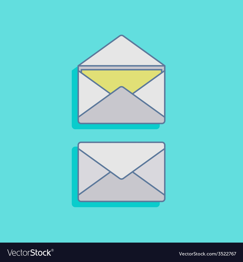 With mails in flat style design vector | Price: 1 Credit (USD $1)