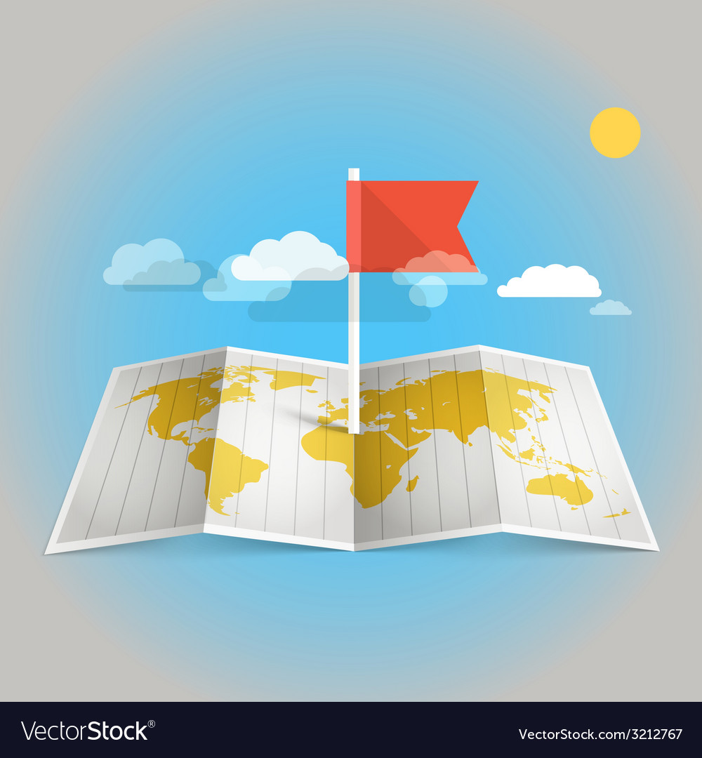 World map with red flag vector | Price: 1 Credit (USD $1)