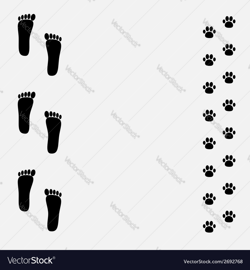 Bare foot print and paw print black frame vector | Price: 1 Credit (USD $1)