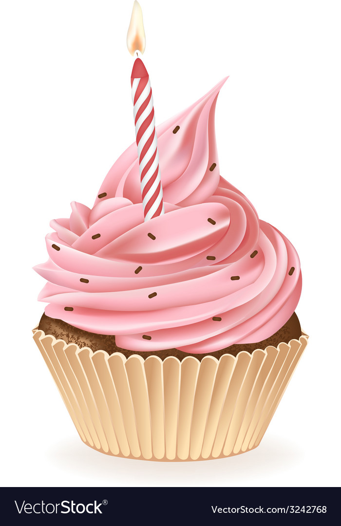 Birthday candle cupcake vector | Price: 3 Credit (USD $3)