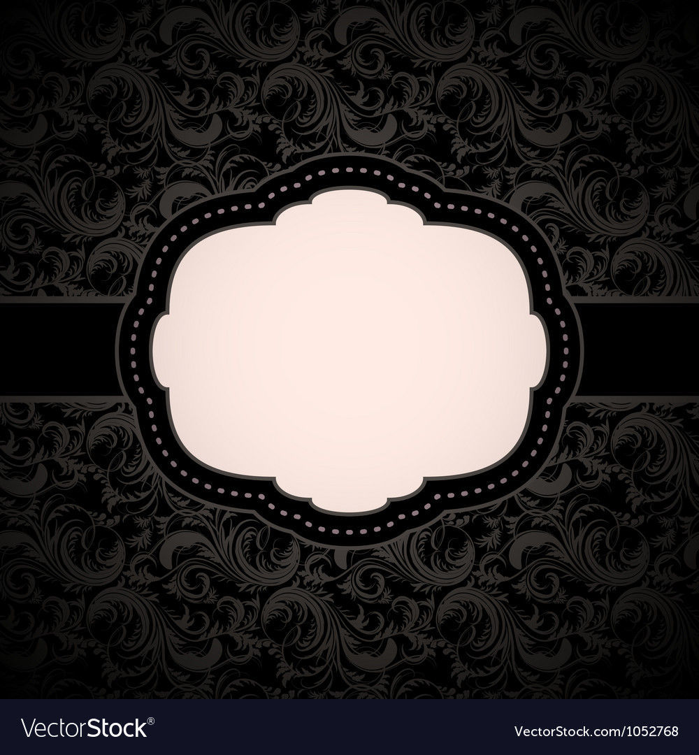 Black seamless floral pattern with vintage frame vector | Price: 1 Credit (USD $1)