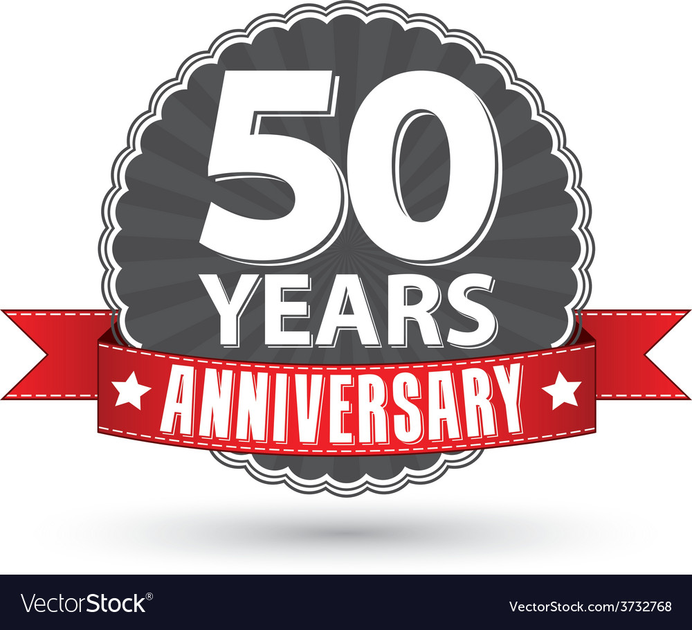 Celebrating 50 years anniversary retro label with vector | Price: 1 Credit (USD $1)
