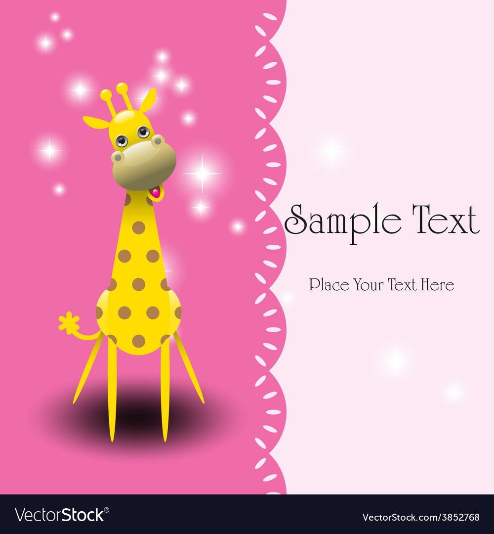 Cute giraffe greeting card vector | Price: 1 Credit (USD $1)