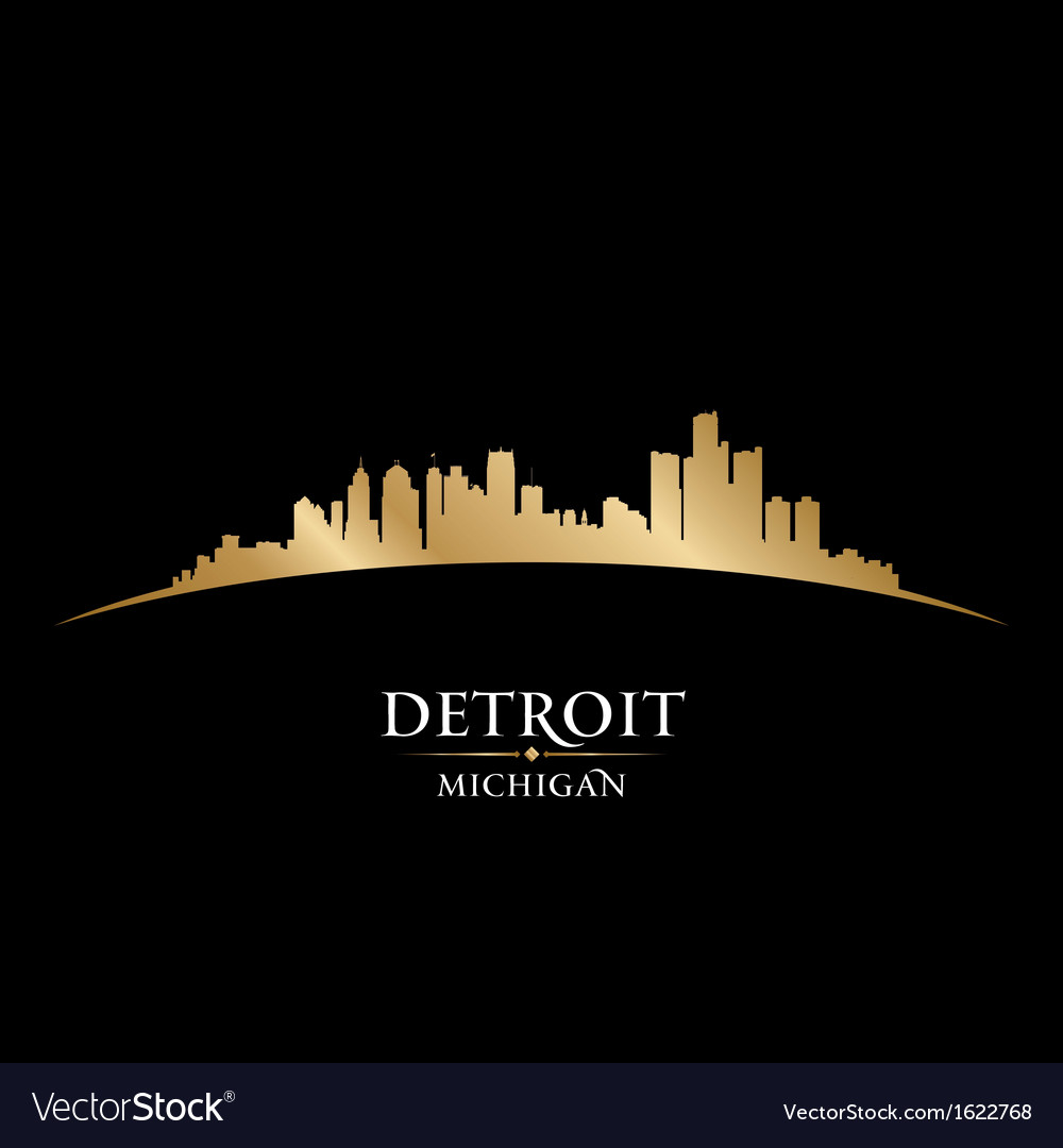 Detroit michigan city skyline silhouette vector | Price: 1 Credit (USD $1)