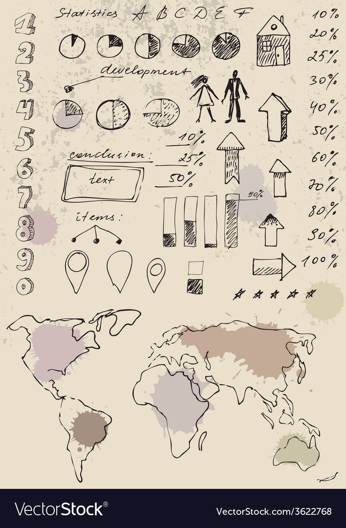 Doodles infographics set vector | Price: 1 Credit (USD $1)