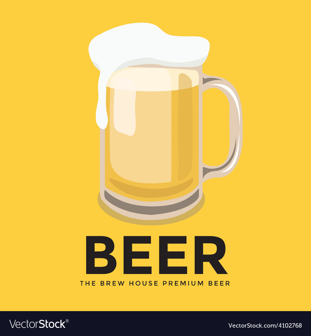 Glass of beer with foam on yellow background vector | Price: 1 Credit (USD $1)