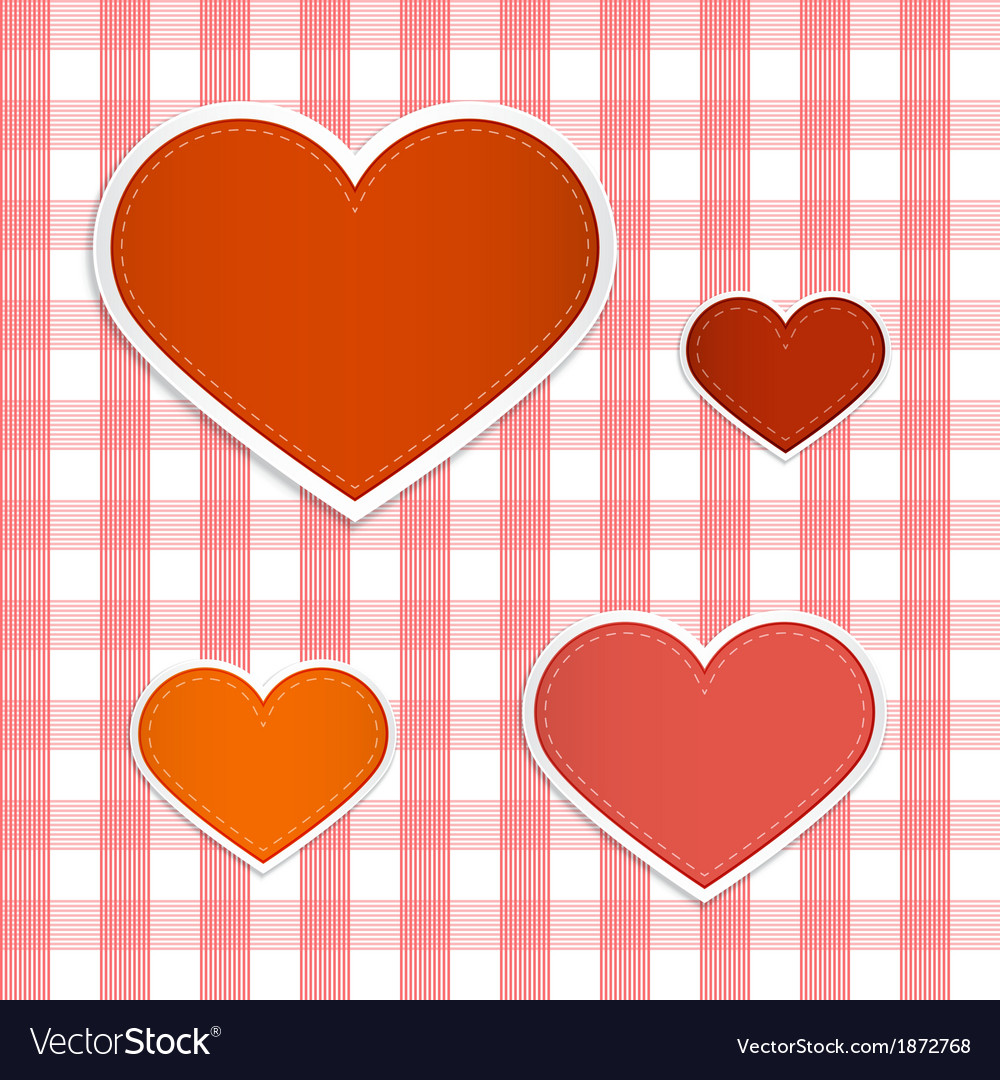 Hearts made from paper on retro tablecloth vector | Price: 1 Credit (USD $1)