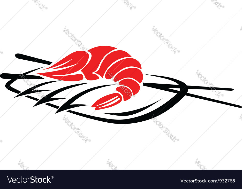 Shrimp seafood with rice and chopsticks vector | Price: 1 Credit (USD $1)
